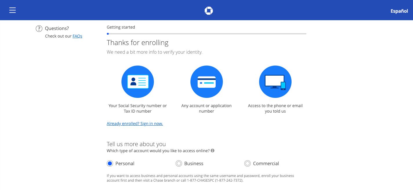 Getting started Online Enrollment chase com