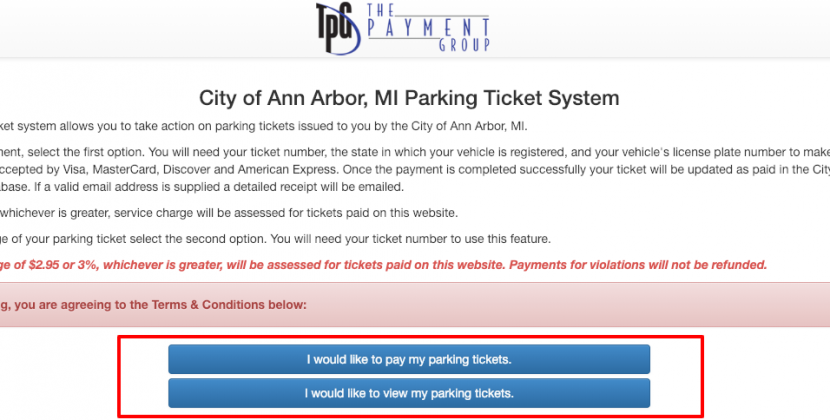 Parking Ticket Payment System for City of Ann Arbor