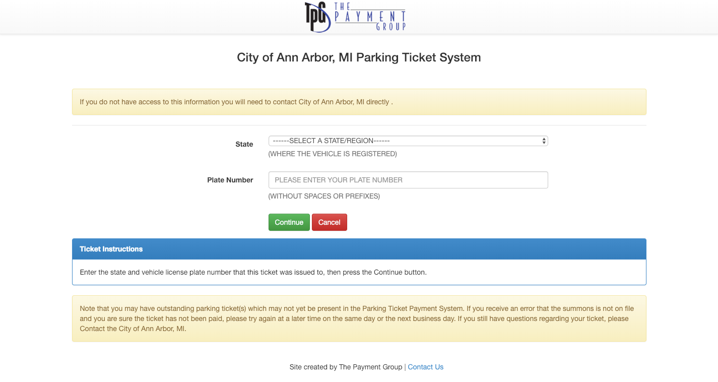 Parking Ticket Payment for City of Ann Arbor MI