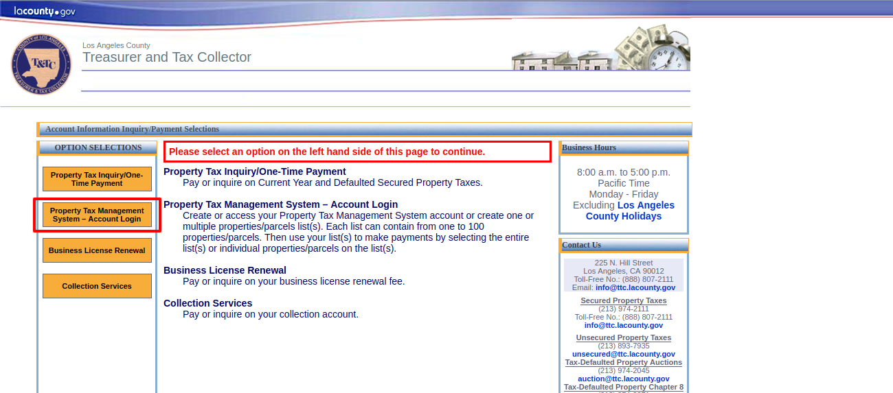 Account Information Inquiry Payment Selections
