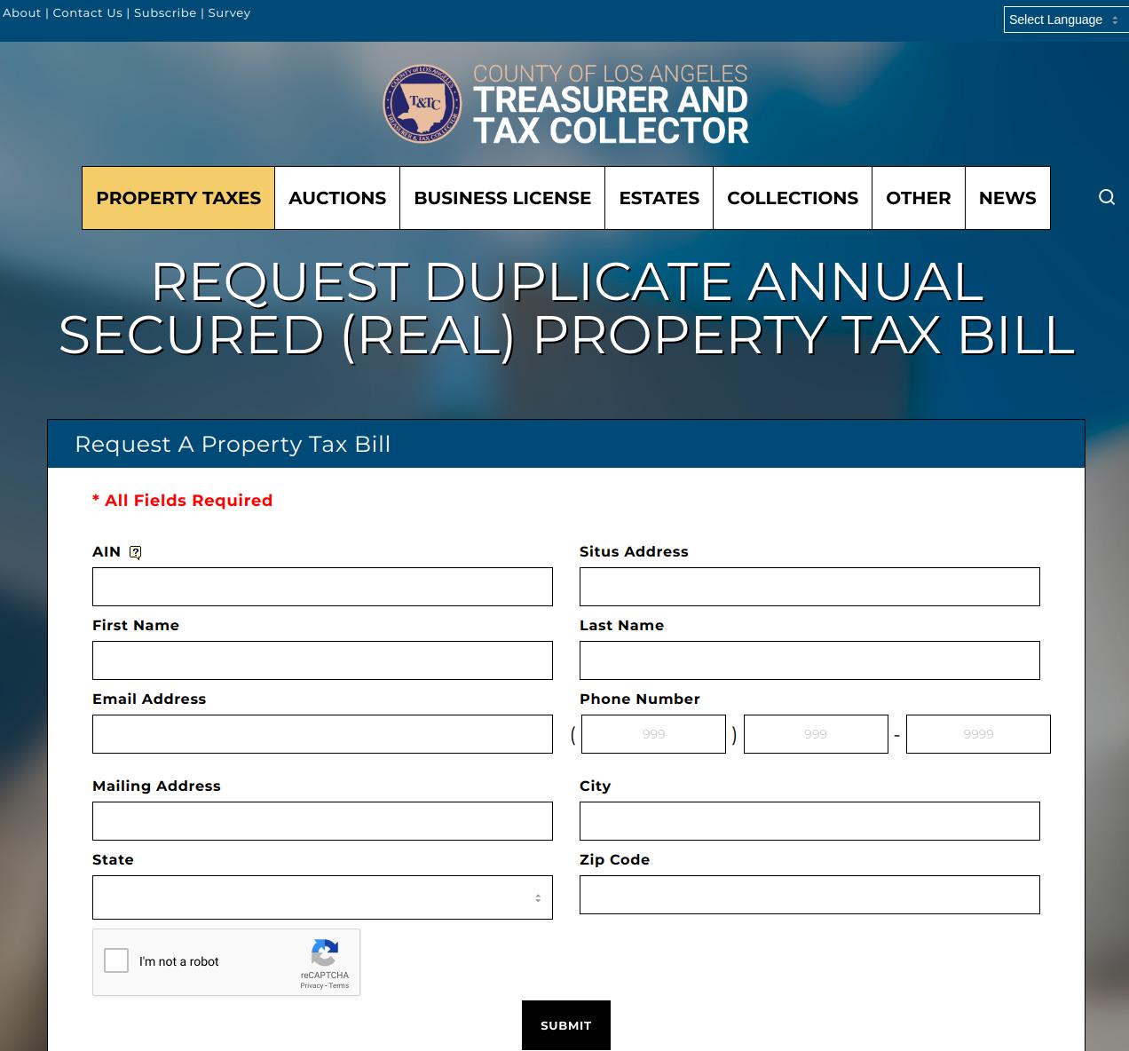 Secured Property Tax Bill Request