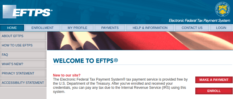 Welcome to EFTPS online Logo
