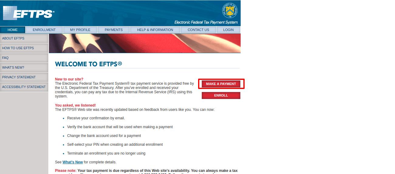 Welcome to EFTPS online