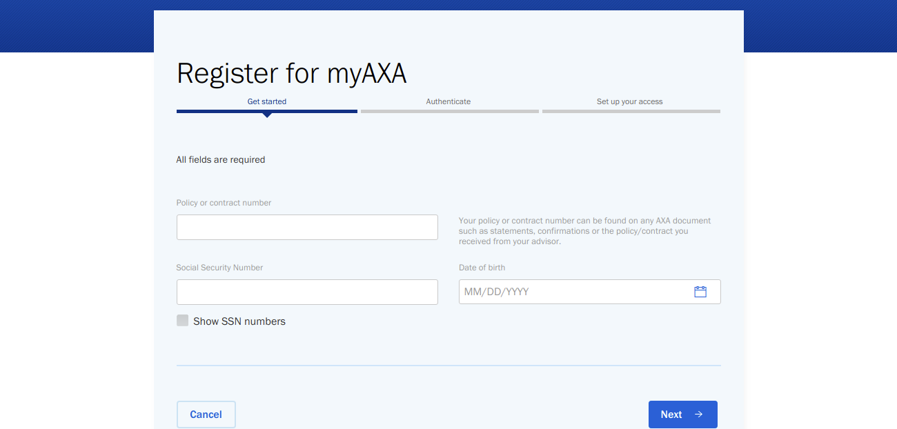 AXA Customer Registration