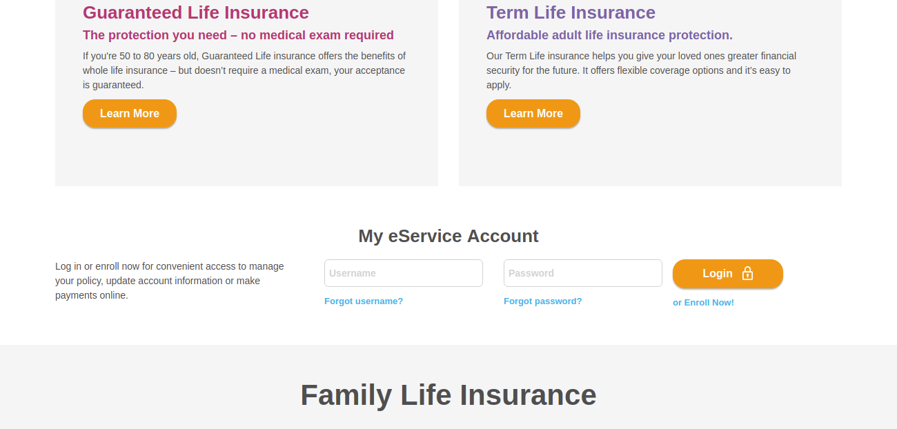 Family Life Insurance PoliciesLogin