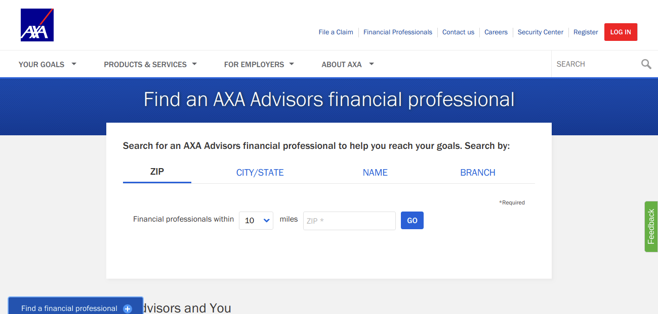 Find an AXA Advisors financial professional