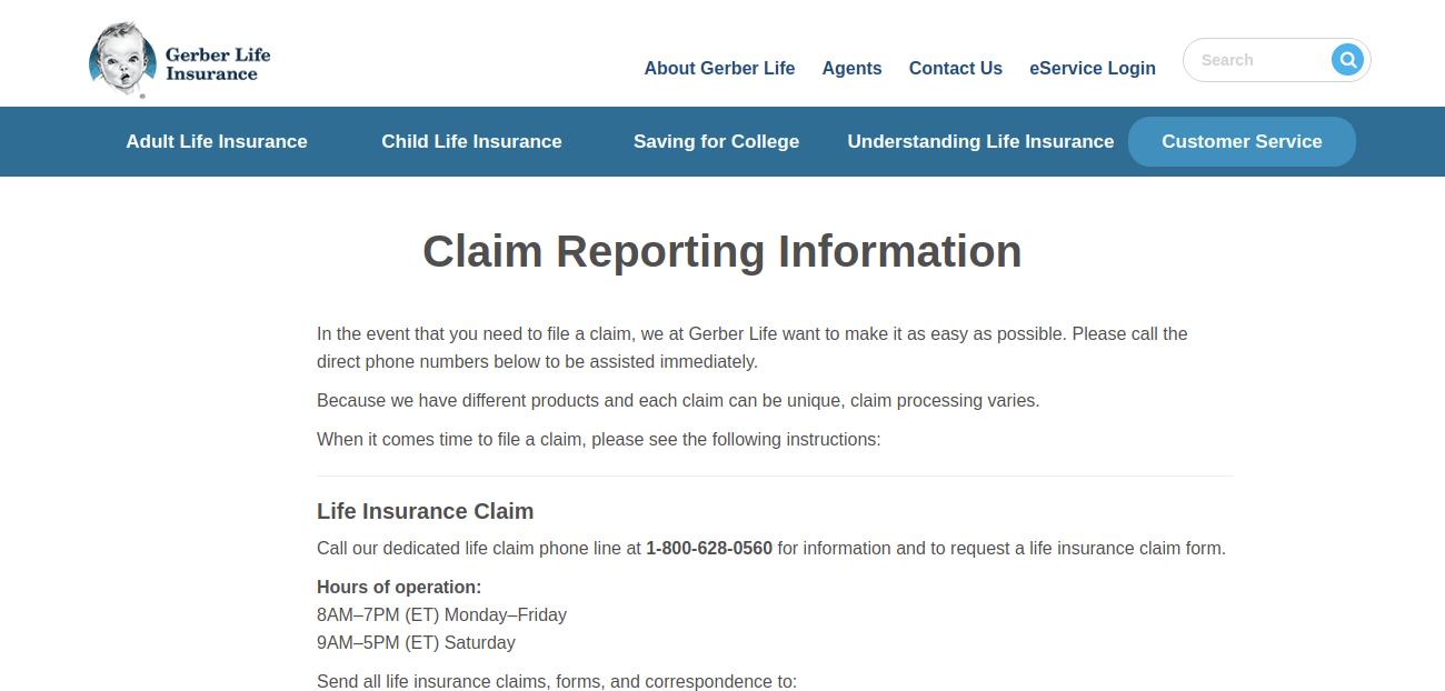 Gerber Life Claim Reporting Information