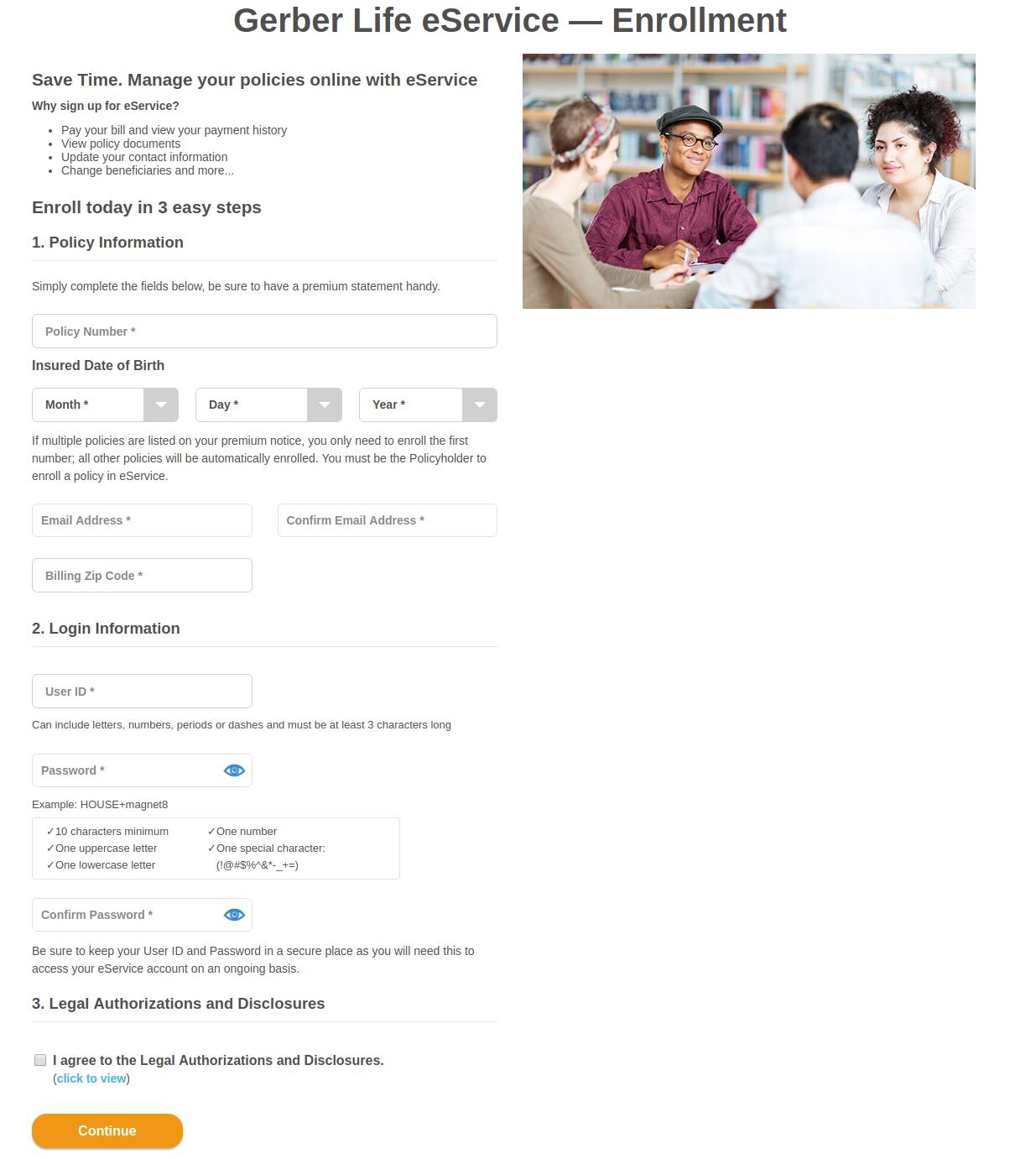 Gerber Life eService Enrollment
