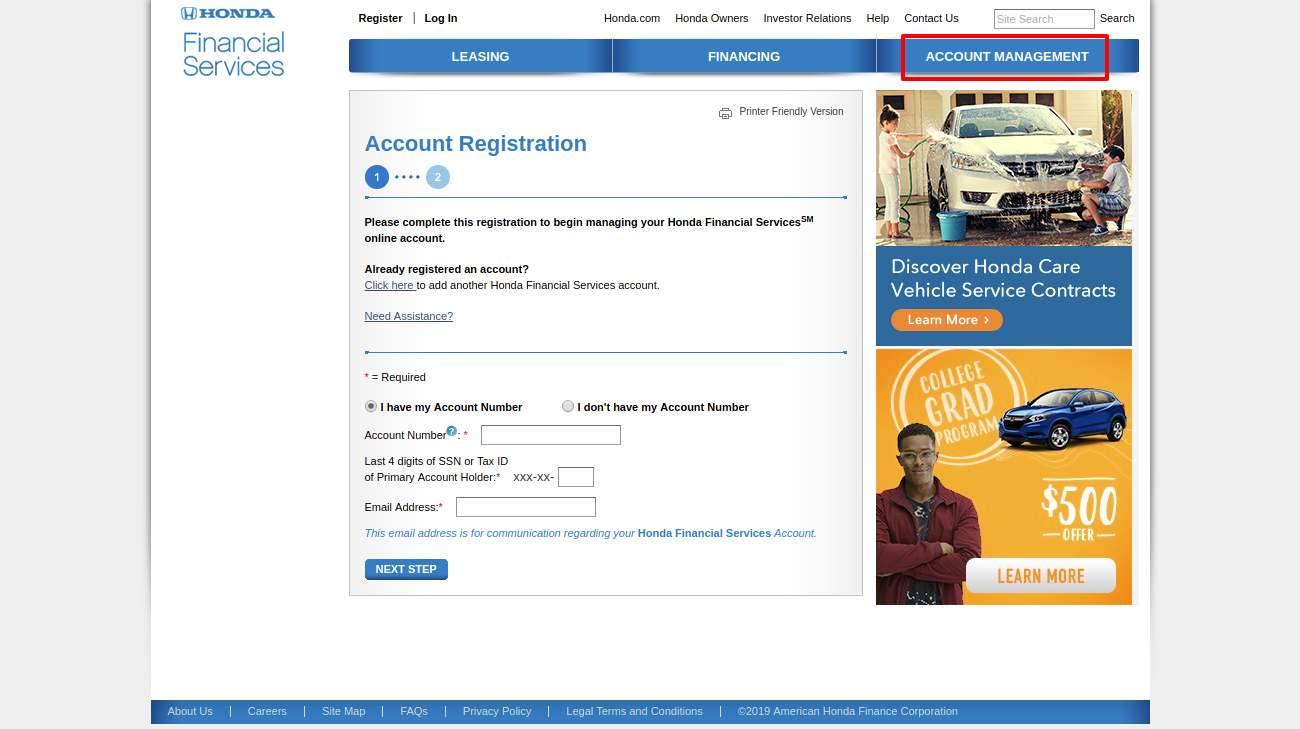 Honda Financial ServicesRegistration