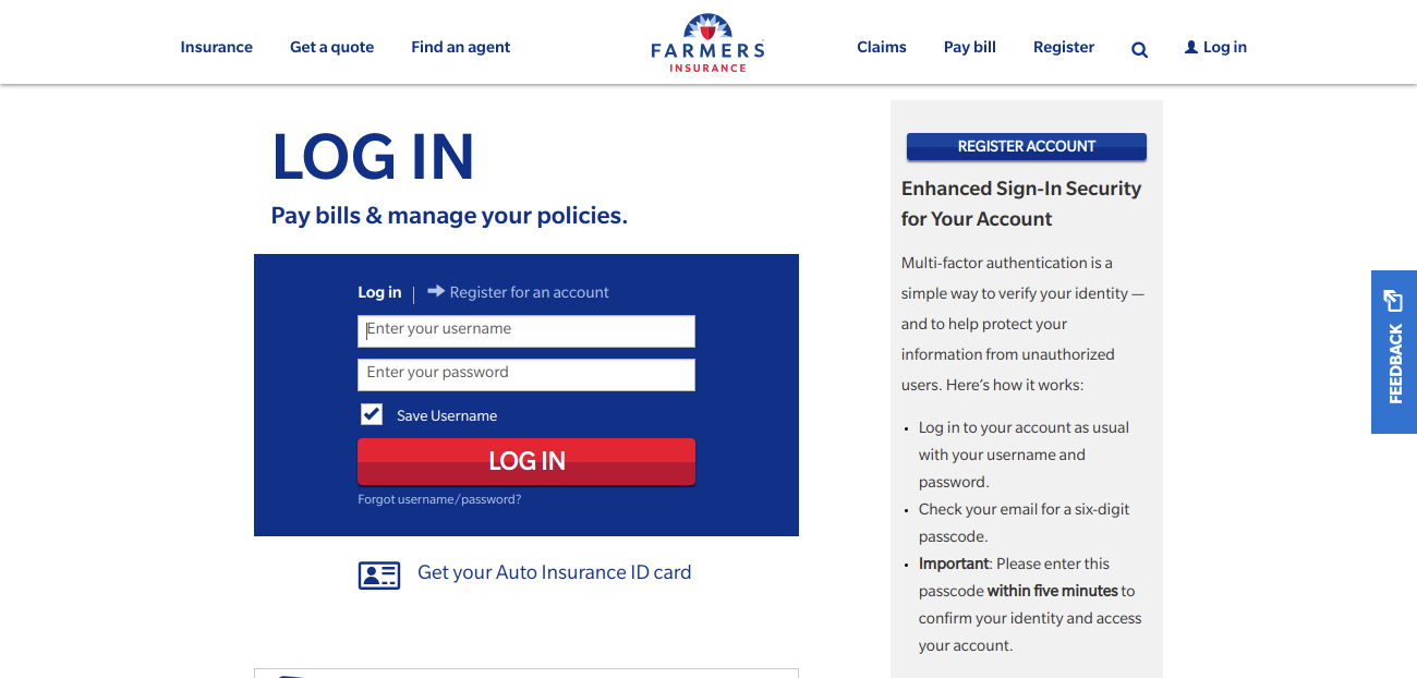 Log into Your Farmers Account
