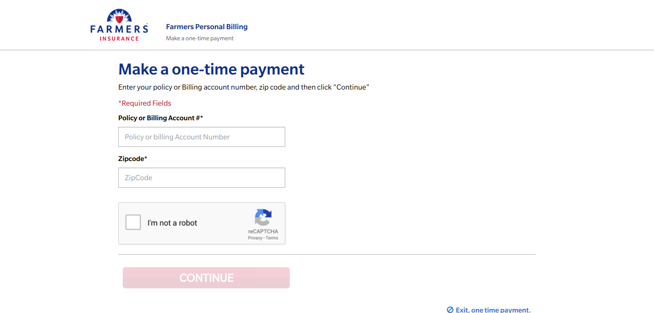 Make a one time payment