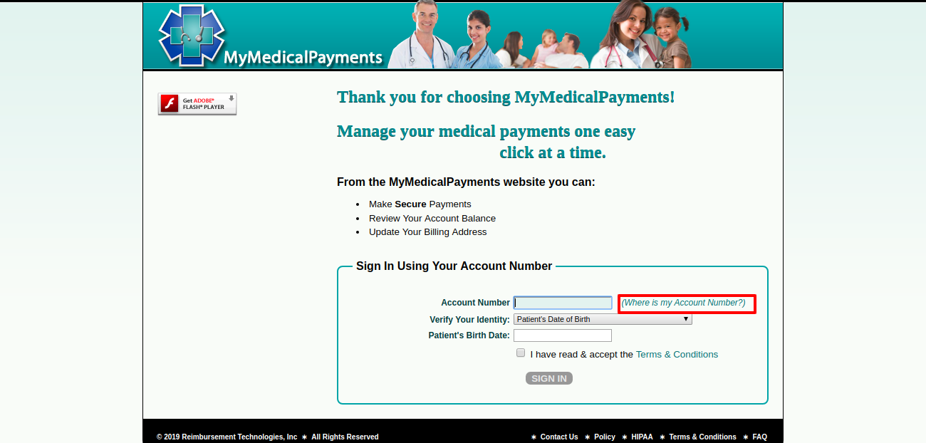 MyMedicalPayments Get acount