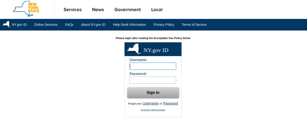 NY gov ID Login