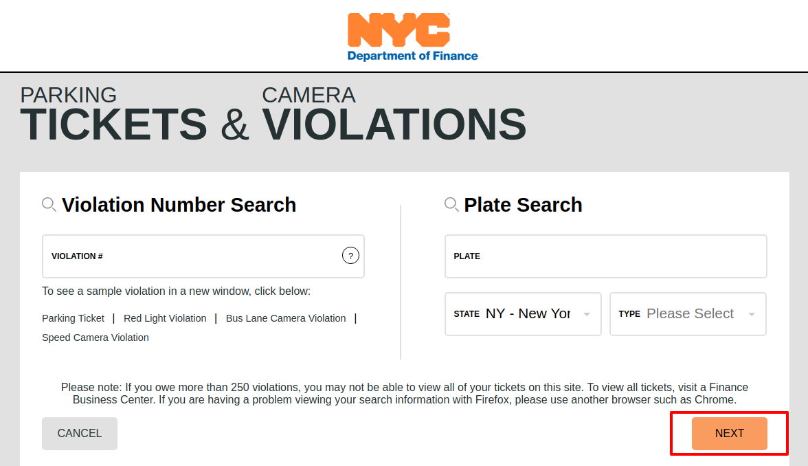 NYC Online Parking Payments