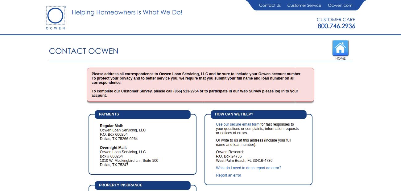 Ocwen Contact Ocwen