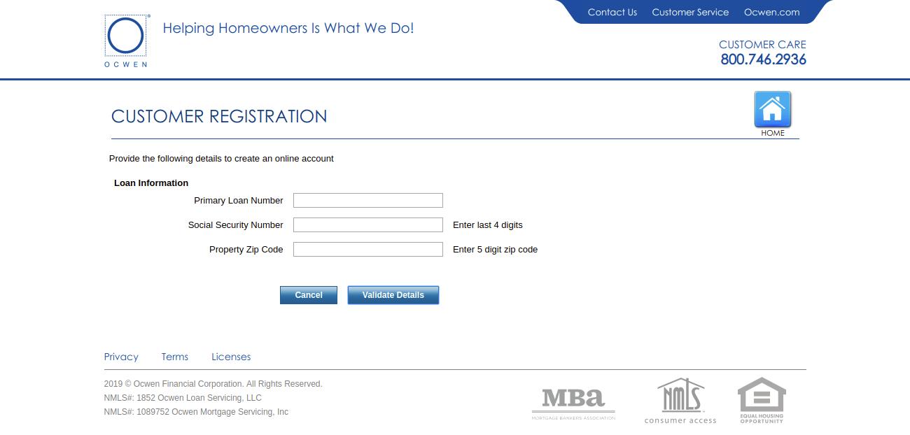 Ocwen Customer Registration Validation