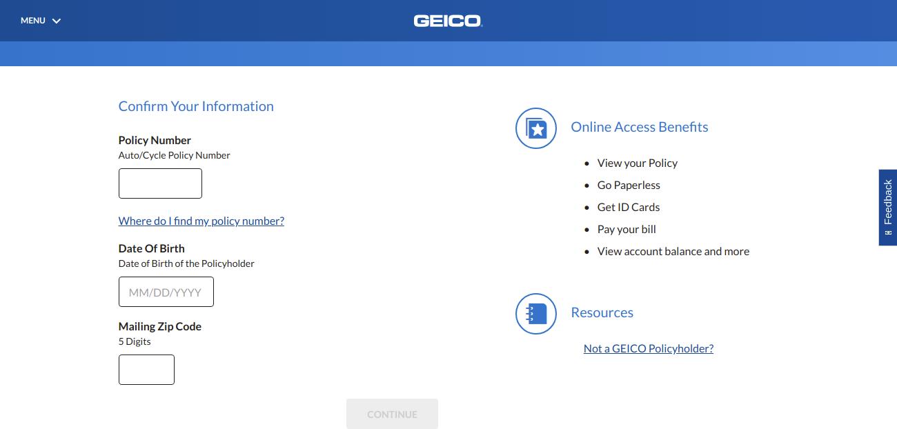Online Service Center GEICO