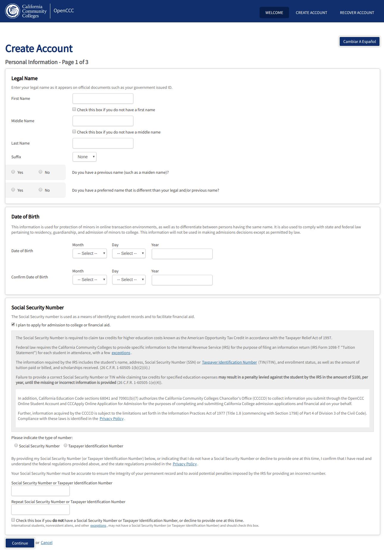 OpenCCC Create Account