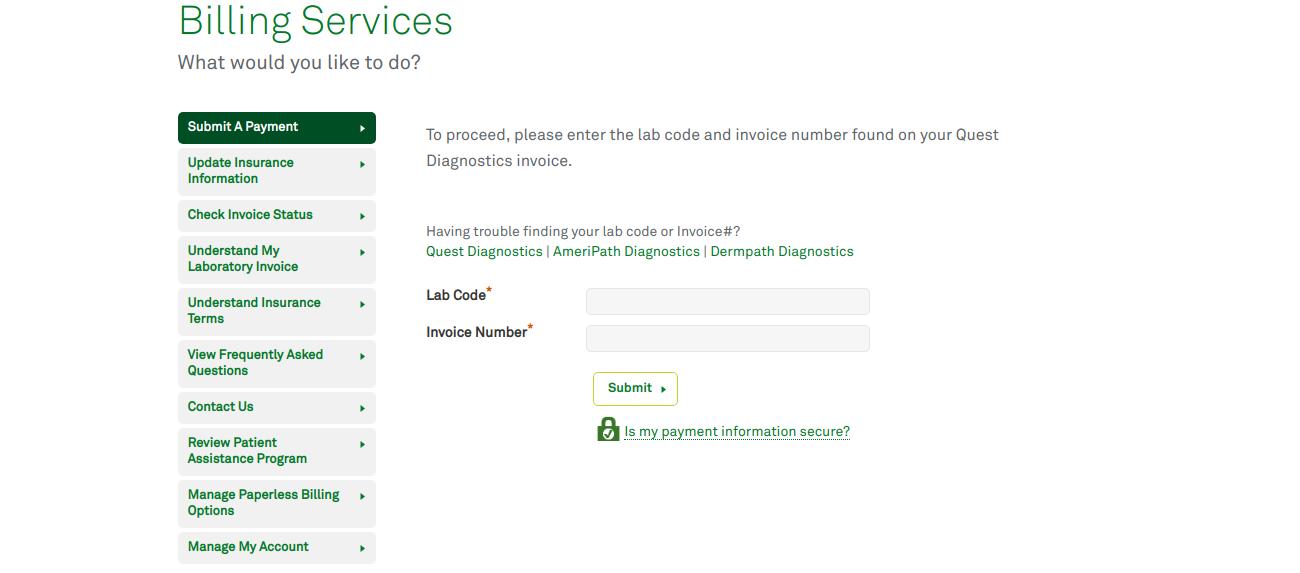 Pay your Patient Bill Quest Diagnostics Inc