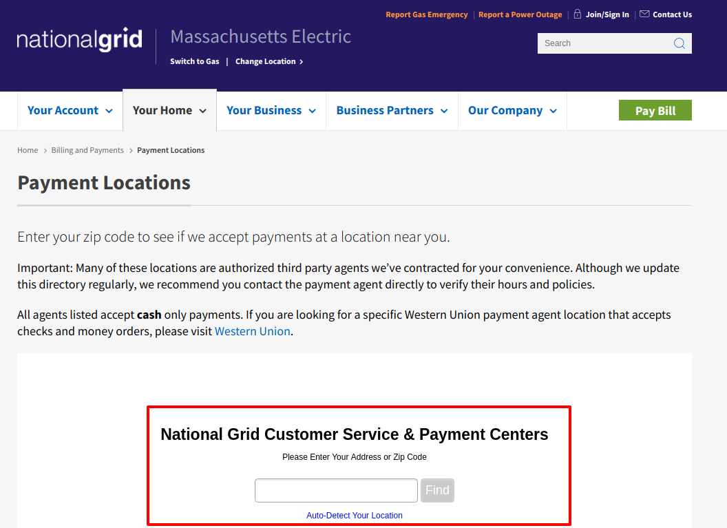 Payment Customer Service Center Locator