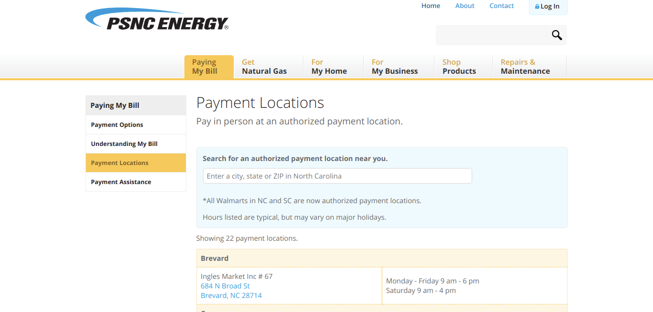 Payment Locations Paying My Bill PSNC Energy