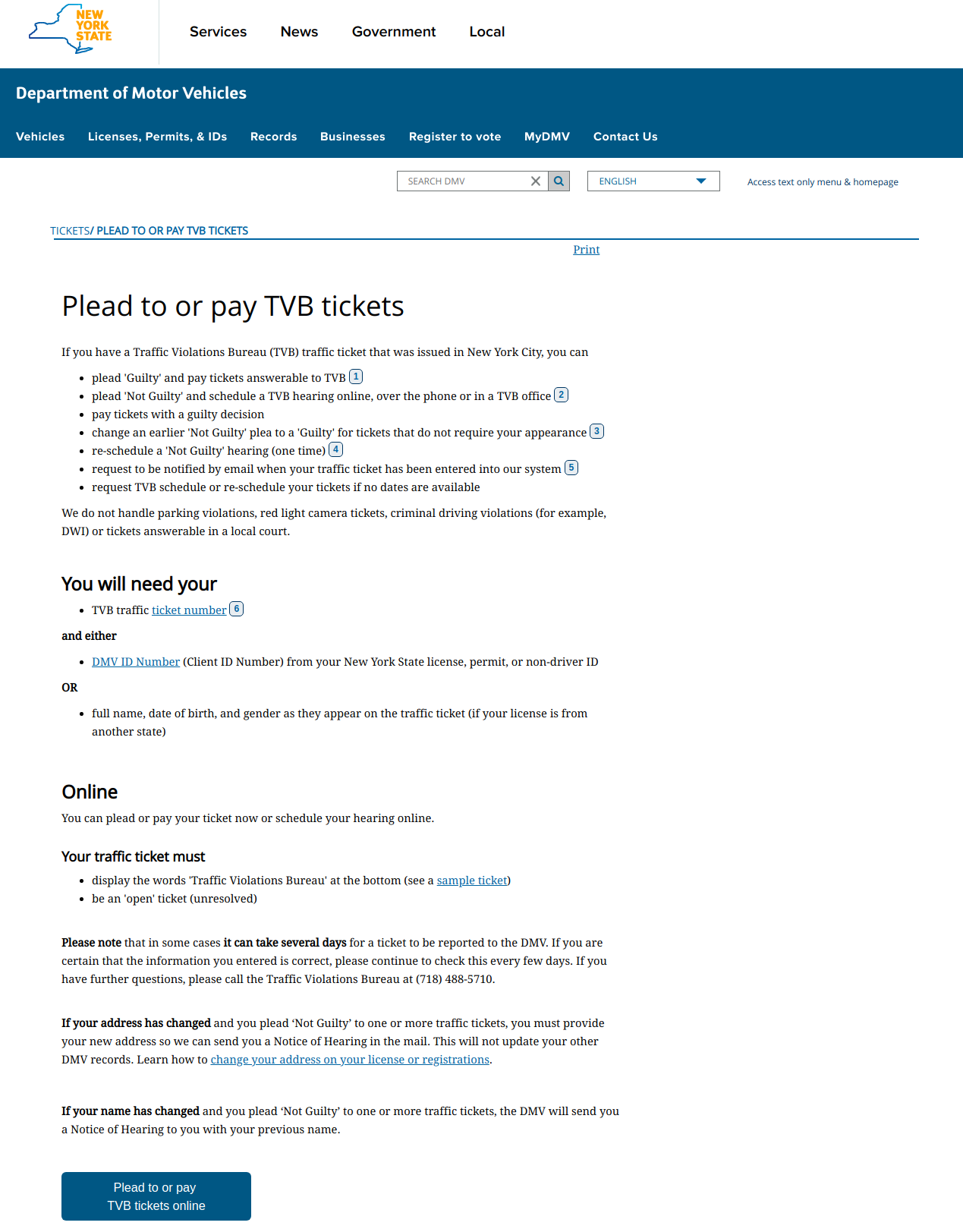 Plead to or pay TVB tickets