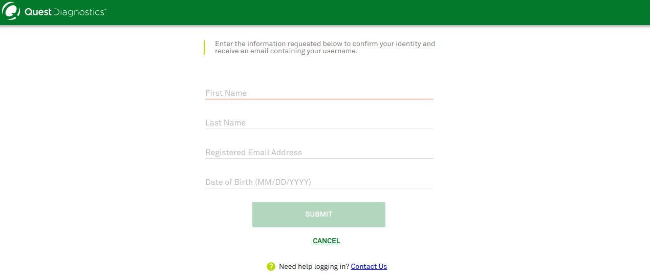 Quest Diagnostics Authentication Service Forgot