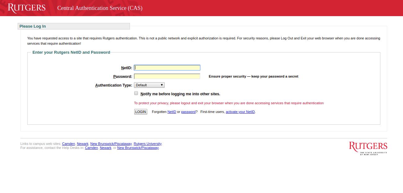 Rutgers Central Authentication Service CAS