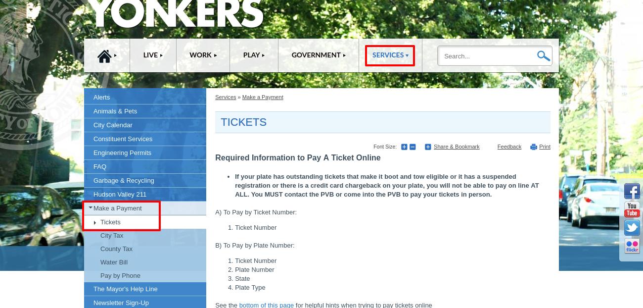 Tickets CityofYonkers NY