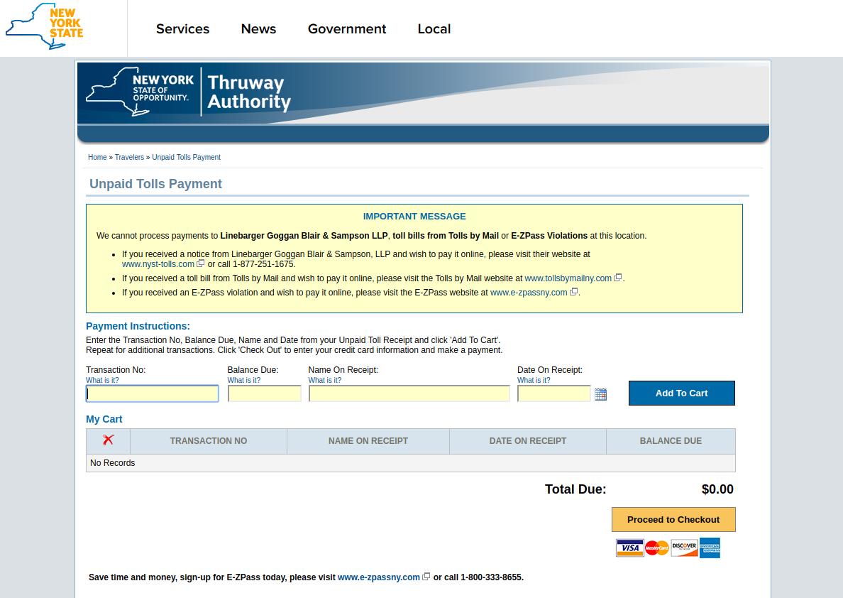 Unpaid Tolls Payment New York State Thruway