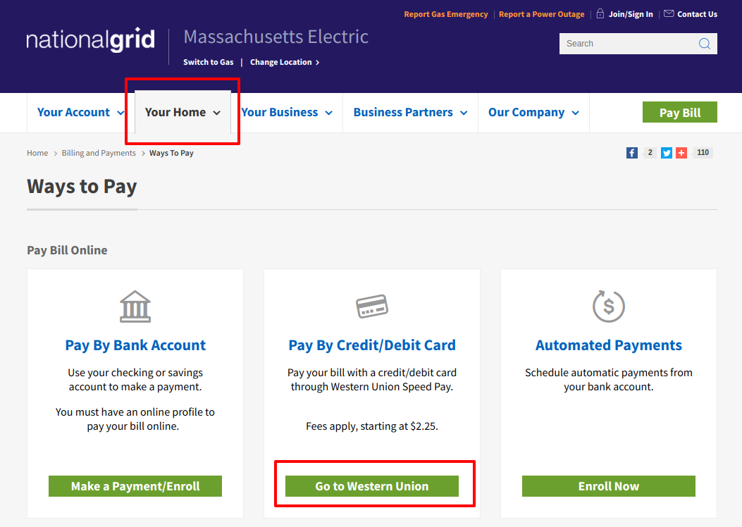 Ways to Pay National Grid