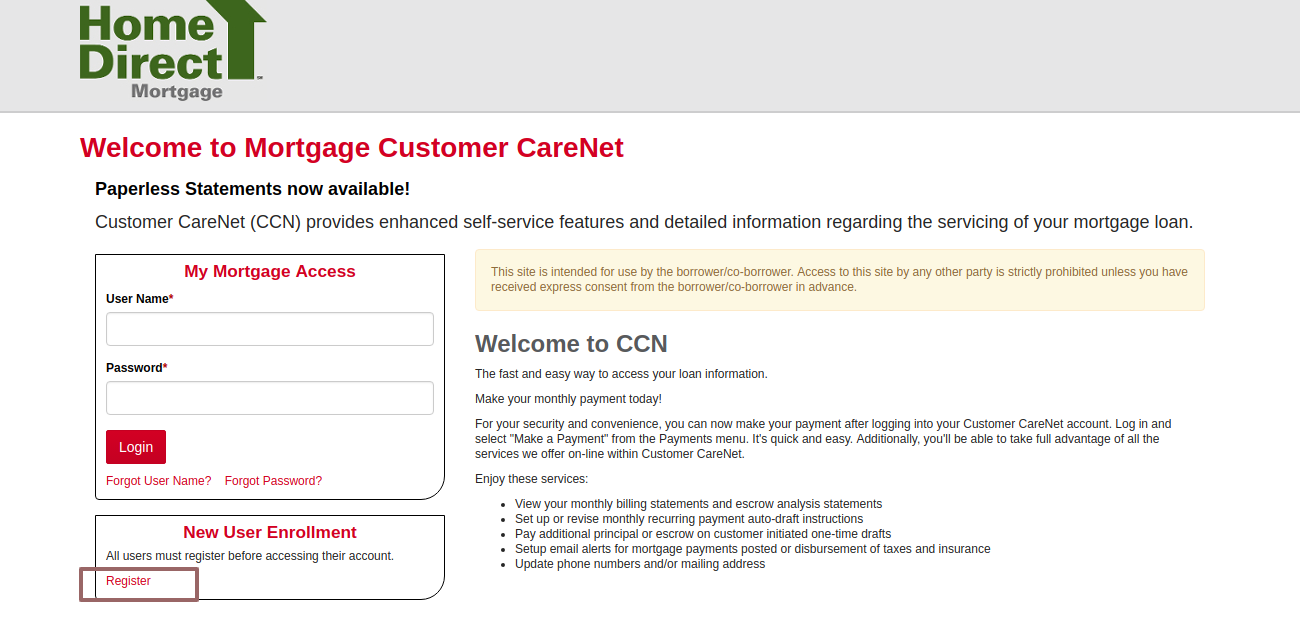 Welcome to Mortgage Customer CareNet