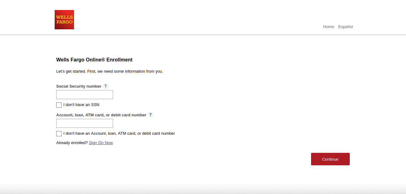 Wells Fargo Online Enrollment