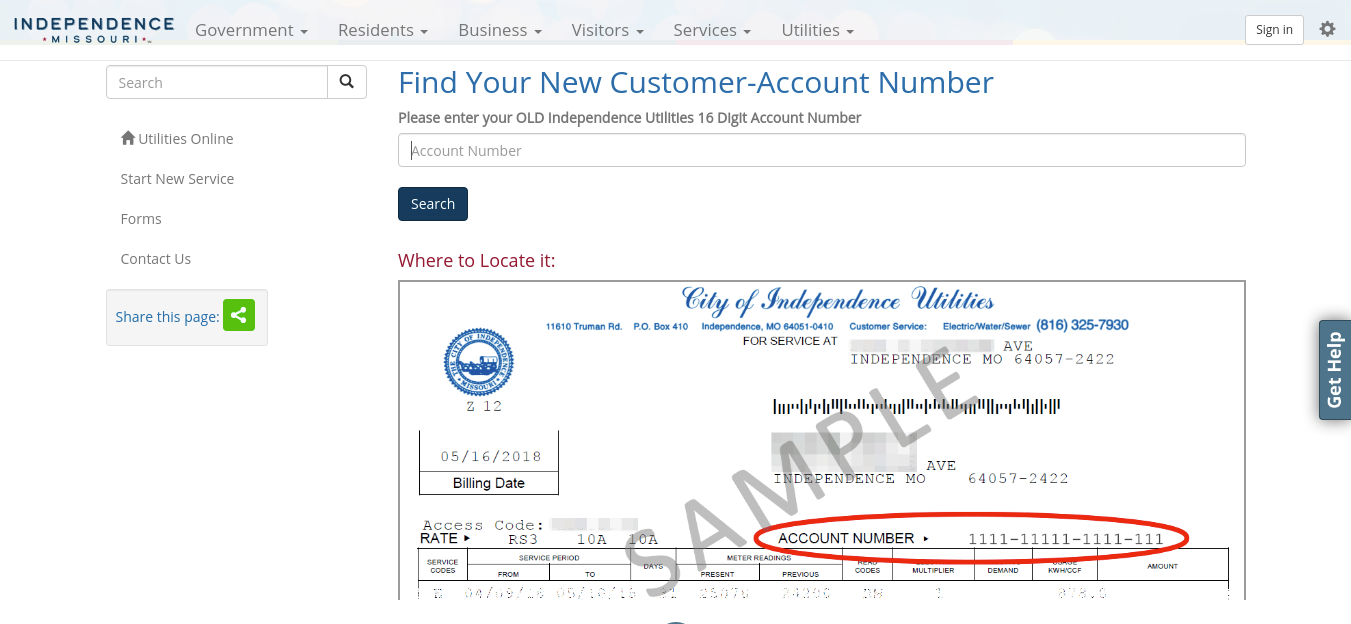 Account Number Search