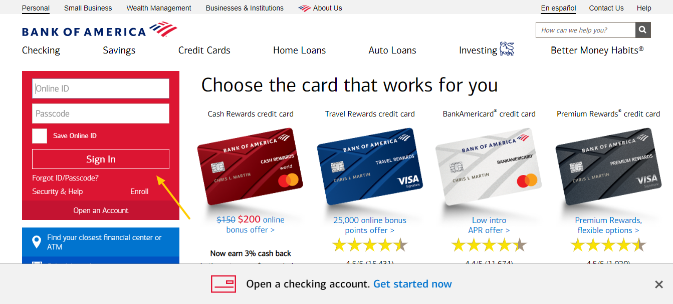 Bank of America Banking Credit Cards Loans and Investing