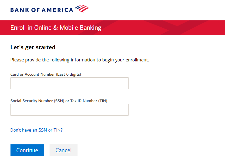 Bank of America Online Banking Enroll in Online Mobile Banking
