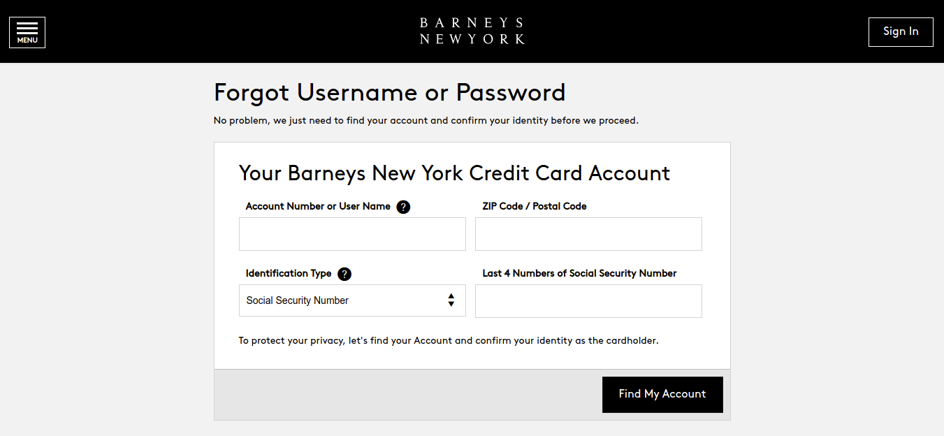 Barneys New York Credit Card Forgot Username or Password