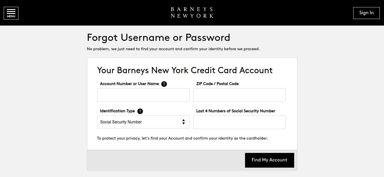 Barneys New York Credit Card Forgot Username or Password