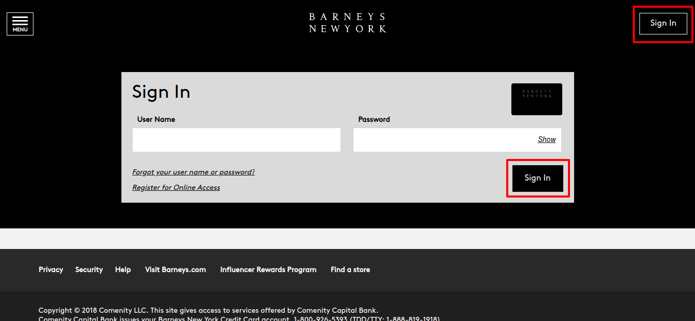 Barneys New York Credit Card Sign In