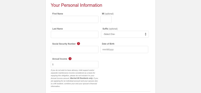 Credit Account Application