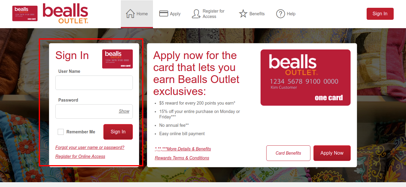 Bealls Outlet One Card Credit Card Login