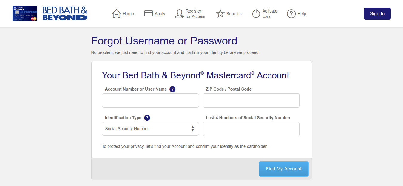 Bed Bath Forgot Username or Password