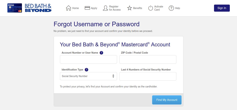 Bed Bath Forgot Username or Password