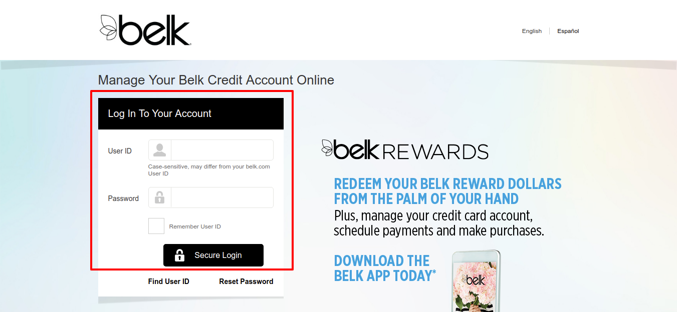 Belk Credit Card Account Login