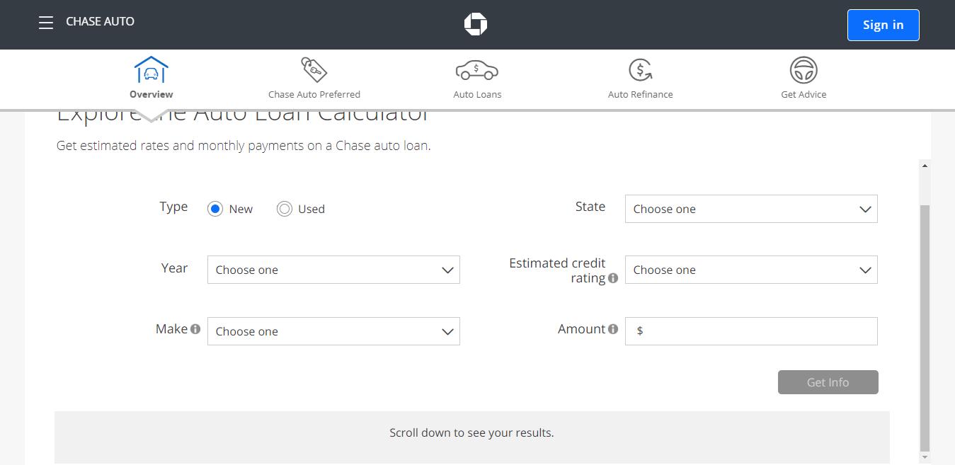 Chase Auto Auto Loan Calculator Chase com