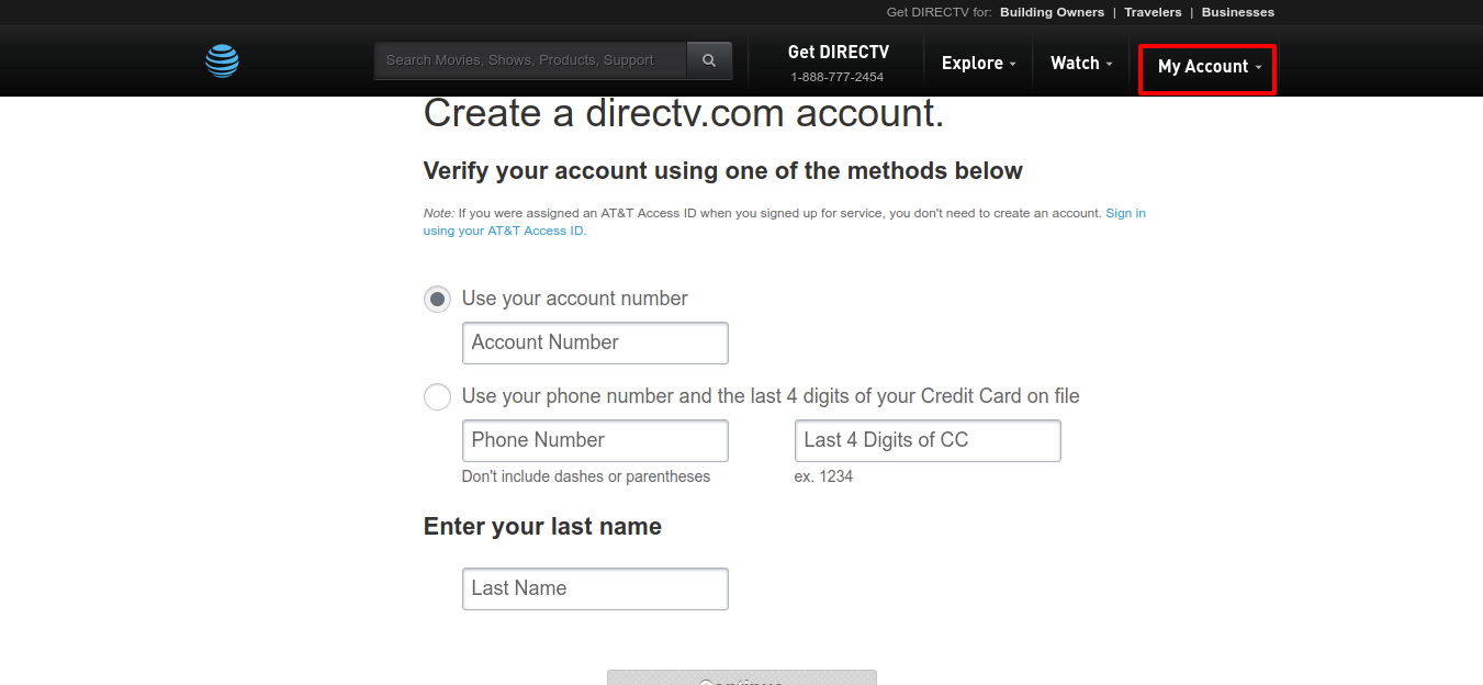 Create Register Your DIRECTV