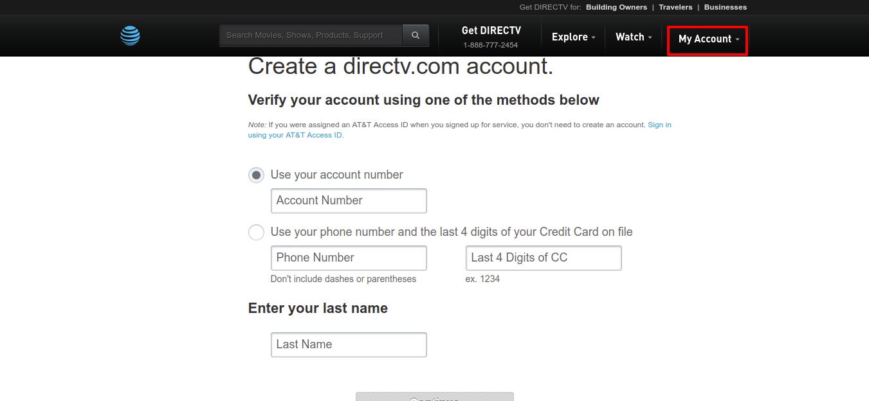 Create Register Your DIRECTV