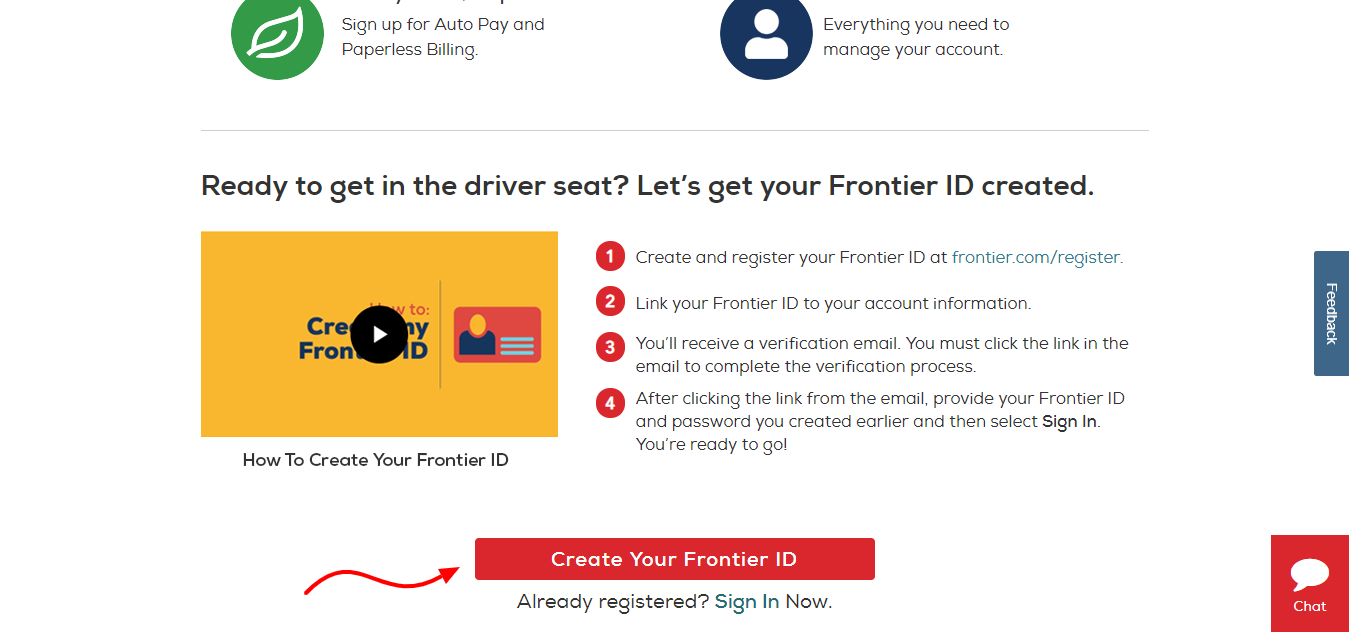 Create Your Frontier ID Frontier com
