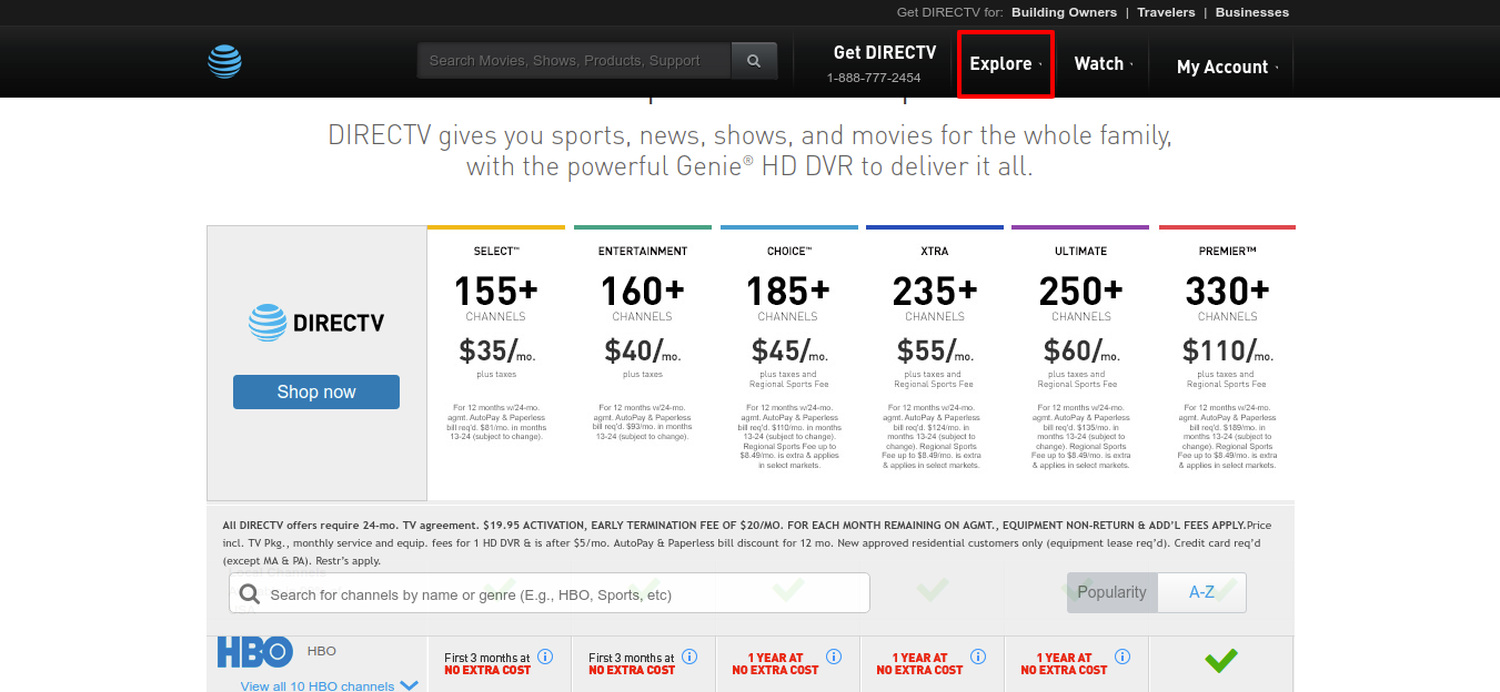 DIRECTV TV Packages