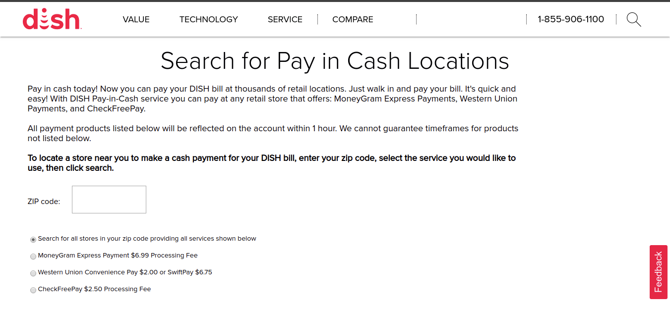 DISH Support Tools Apps Pay In Cash Locator